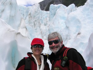 Dr Laurel and Dr Bob climbing Franz Joseph Glacier in New Zealand